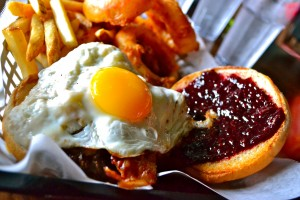 The Morningwood burger, which contains an egg, homemade jelly, peanut butter and bacon.